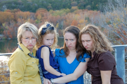 The Thornton Women with very serious faces.
